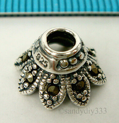 2x OXIDIZED STERLING SILVER FLOWER MARCASITE BEAD CAP 11mm #1800