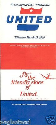 Airline Timetable - United - 15/03/69 - Washington DC / Baltimore edition