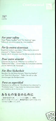 Safety Card - Continental - B757 - 12/99 (S1527)