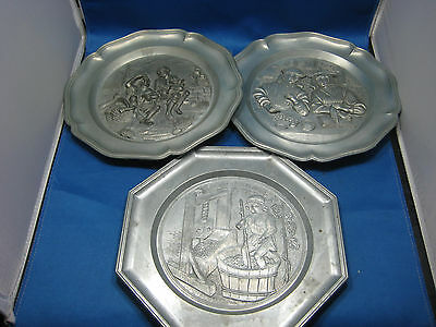 Lot of 3 Antique German Embossed Pewter Deco Plates  Engraved Mark with Hanger