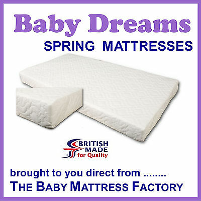 Spring sprung mattress for cotbed 140  70 cm  fits Junior, toddler, cot  bed BD