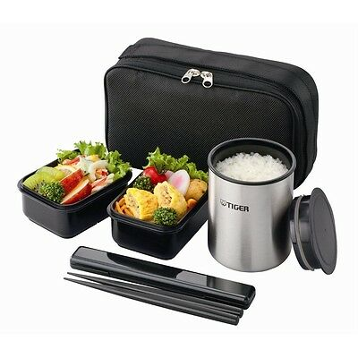 Tiger Thermos Bento Stainless Lunch Box Jar Set Keep Warm LWY-R030 Black New JP