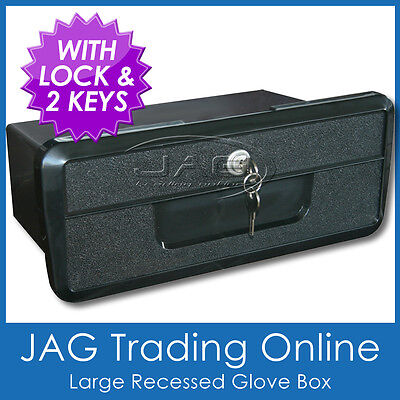 LARGE BLACK RECESSED STORAGE GLOVE BOX WITH LOCK & 2 KEYS - Boat/Caravan/Car/4x4