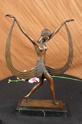 Art Deco Signed By Mirval Ribbon Dancer Bronze Sculpture Statue Figure Hot Cast