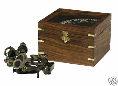 Bronze Sextant in Wood case etched glass Nautical Brass Instrument Gift NEW