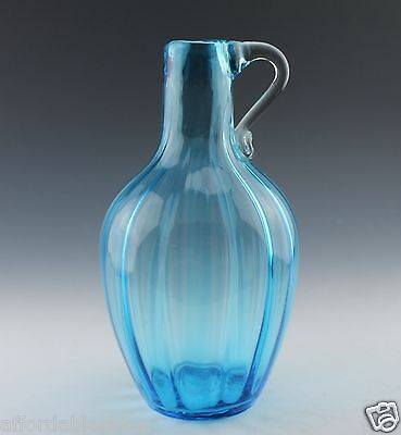 Antique Steigel Type Hand Blown Blue Ribbed Handled Jug