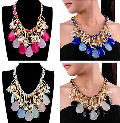 Fashion Gold Chain Multi-Color Resin Crystal White Pearls Pendant Bib Necklace