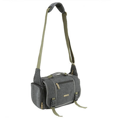 Gray Canvas DSLR Camera Messenger Shoulder Case Bag For Nikon Sony Canon Pentax