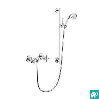 Traditional Vintage Chrome Bar Mixer Shower Kit Slider Riser Rail Bracket SP7010