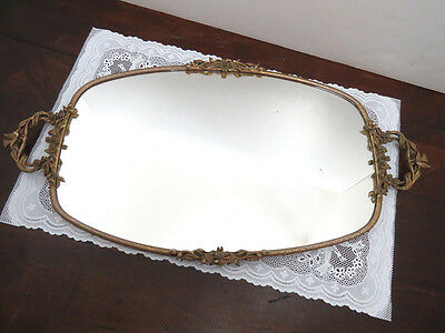 "Vtg Antique Ornate Brass Ormolu 21"" Mirrored Dresser Tray w Doves & Dogwood"