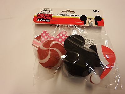 Disney, Minnie Mouse Peppermint and Mickey Mouse Santa Antenna Toppers