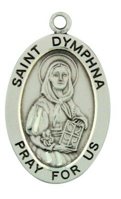 Saint St Dymphna Pray For Us Pendant 1 1/16 Inch Sterling Silver Medal