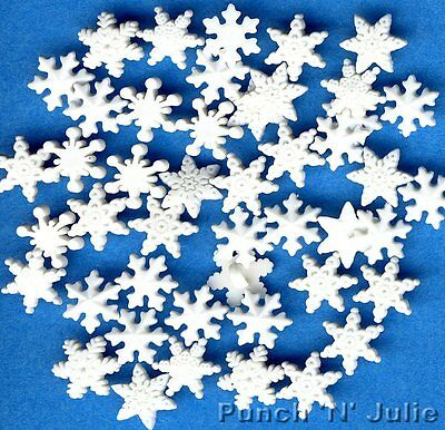 ITTY BITTY SNOWFLAKES - White Snow Winter Christmas Dress It Up Craft Buttons