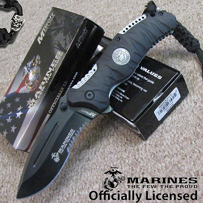 "USMC Marines ""Reaper"" - Tactical SPRING Assisted KNIFE - Black - MTech Licensed"