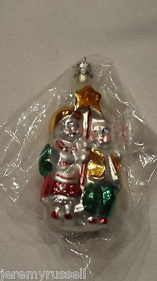 Vintage Made in Poland Blown Glass Caroling Boy & Girl Christmas Ornament NOS