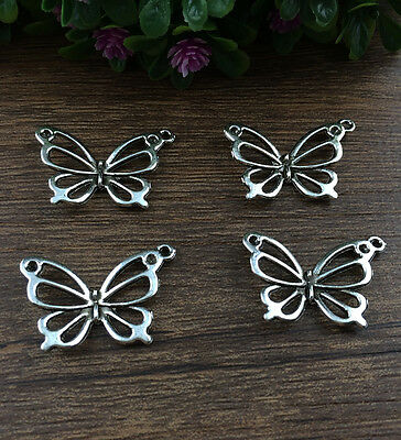 Wholesale 10pcs Tibet silver Butterfly Charm Pendant beaded Jewelry Findings !!!