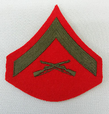 Usmc Marine Corps Lance Corporal Chevron Patch Green On Red Group Lot Of 24