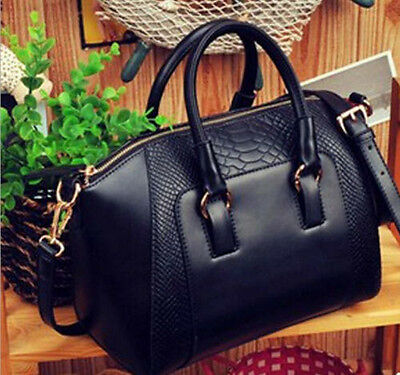 Charm Black Women Hobo Shoulder Bag Faux Leather Satchel Cross Body Tote Handbag