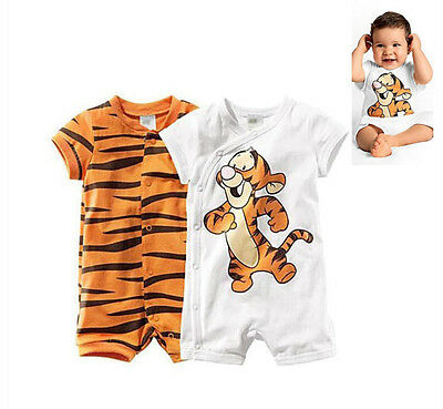 Baby Boy Newborn Top Short Sleeve Outfit Tigger Romper Bodysuit Clothes 0-18M