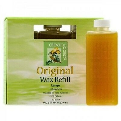 Original Large Wax Refill Natural Blend for Hair Removal by Clean+Easy 12 Pack