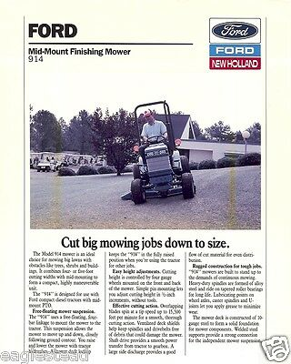 Farm Equipment Brochure - Ford - 914 - Finishing Mower for Tractor 1988 (F2497)