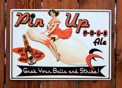 Pin Up Pale Ale Tin Metal Sign Beer Bar Alcohol Vintage Style Bowling G13
