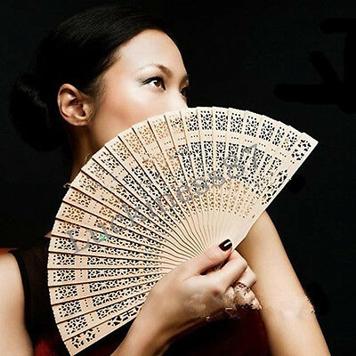 Wedding Bridal Party Folding Bamboo Original Wooden Carved Hand Fan Chinese
