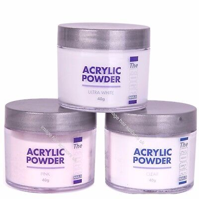 THE EDGE Nail Acrylic Powder 40g All Types Stocked Clear, Ultra White, Pink