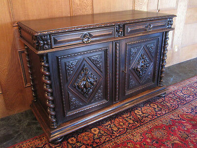 THE COOLEST FRENCH ANTIQUE HAND CARVED DARK OAK SIDEBOARD CABINET BUFFET EVER!