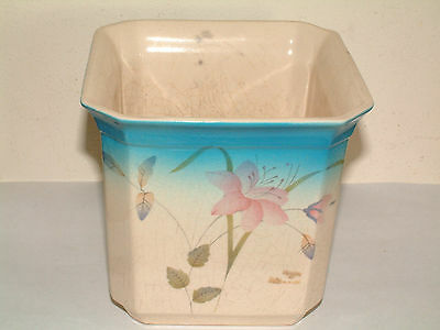 Lovely Vintage Vase Pink Flower & Baby Blue Pottery/China Retro/Collectable