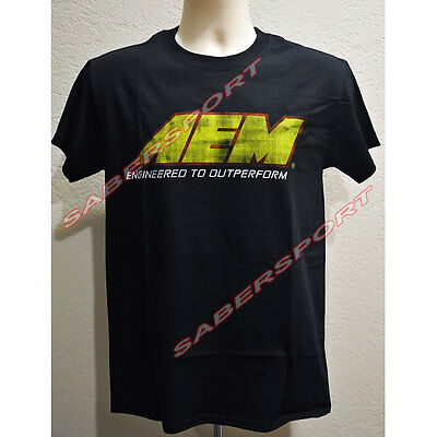 """in Stock"" Authentic Aem Apparel Distressed Logo T-Shirt Black - Size- Large"