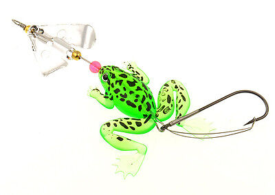 """Green Rubber Frog Soft Fishing Lures Bass CrankBait Tackle 9cm/3.54""""/6.2g"""