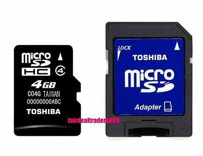 Lots of 10 Pcs 4GB Toshiba Micro SD SDHC 4G TF Memory Card Class 4 Free Adapter