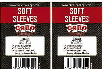 200 Soft Card Sleeves for ATC Trading Cards from Card Concept - 2 Packs of 100
