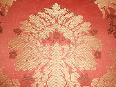 ONE FABRICUT sample LAMPAS with FLORAL design textured finish RUST GOLD