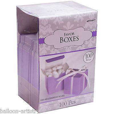 100 Classic LILAC Wedding Party Gift Favour Bags Cubes Boxes Mega Pack