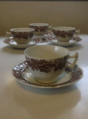 BOOTHS England  Vine & Wheat  brown  (4) Cups & Saucers