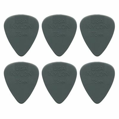 "6 x Jim Dunlop Nylon Standard ""Greys"" .73MM Gauge Guitar Picks *NEW* Plectrums"