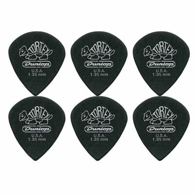 6 X Jim Dunlop Tortex Jazz 3 Pitch Black 1.35mm Guitar Picks III *NEW* Free Post