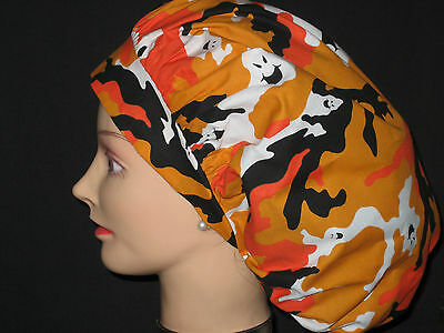 Surgical Scrub Hats/Caps Halloween Camouflage Ghosts  Orange & Black