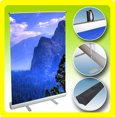 CUSTOM 24x38 Table Top Retractable Roll Pop Up Banner Stand, Free Print