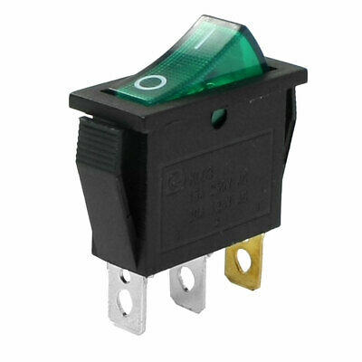 Green Light Illuminated 3 Pins SPST ON/OFF Snap in Boat Rocker Switch