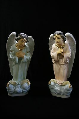 """Pair of Kneeling Praying Angels Catholic 16"""" Statue Figure Made in Italy NEW"""