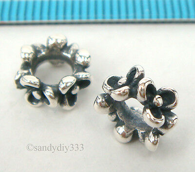 1x ANTIQUE STERLING SILVER FLOWER RONDELLE EUROPEAN BRACELET CHARM BEAD #2280