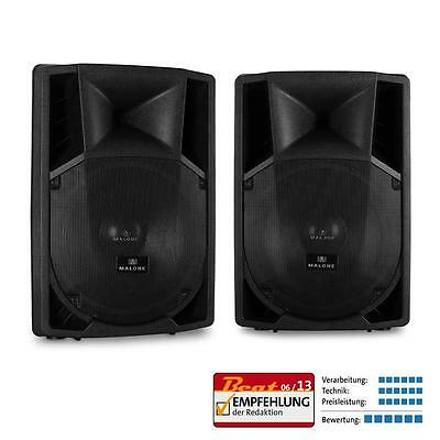 2X ACTIVE MALONE PP-2215A PA SPEAKER SET ACTIVE DJ STAGE MONITORS 2 x 1500W