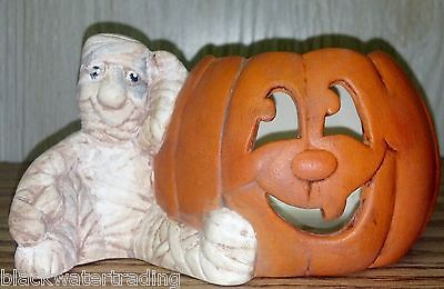 Vintage Hand Painted Ceramic Mummy with Jack'o'Lantern Candle Holder Candy Dish