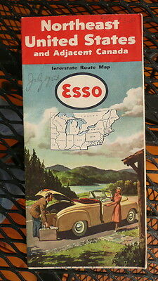 1954 New York Northeast United States road map Esso oil