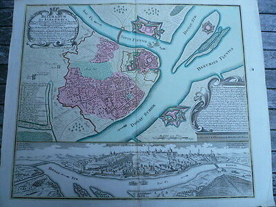 Belgrad, anno 1760, map, Seutter-Lotter, old colours