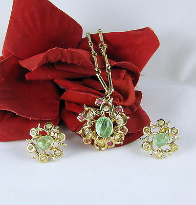 Vintage Coro Pink Rhinestone Green Cabochon Necklace  & Earrings Set  CAT RESCUE