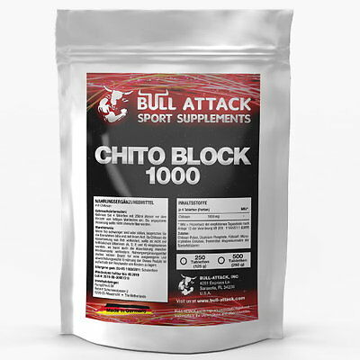 250 TABLETTEN  CHITO-BLOCK 1000 Pure Chitosan Carb-Kohlenhydrat-Blocker
